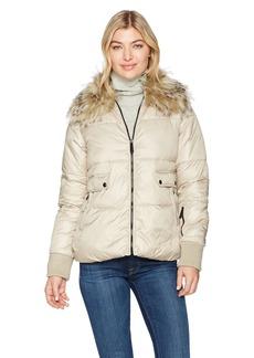 Sam Edelman Women's Short Jacket with Faux Fur Collar  L