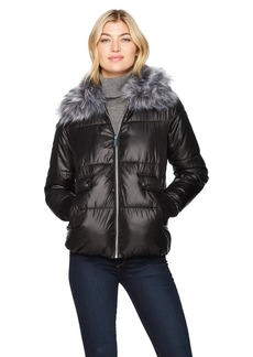 Sam Edelman Women's Short Jacket With Faux Fur Collar  L