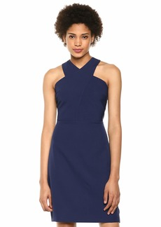 Sam Edelman Women's Sleeveless Crisscross High Neck Sheath