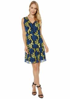 Sam Edelman Women's Sleeveless Embroidered Mesh A-Line Dress