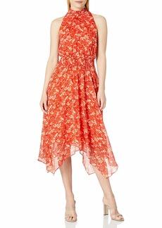 Sam Edelman Women's Sleeveless Smocked Midi Handkerchief Dress