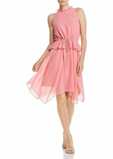 Sam Edelman Women's Sleeveless Solid Halter Hankerchief Dress