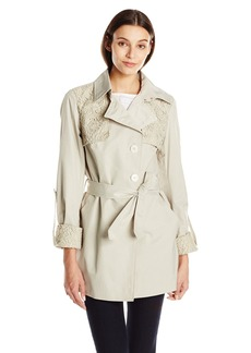 Sam Edelman Women's Trench with Lace Details  X-Small