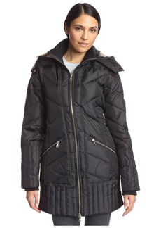 Sam Edelman Women's Zip Front 3/4 Puffer Coat  S