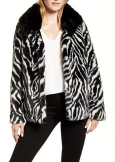 Sam Edelman Zebra Faux Fur Coat