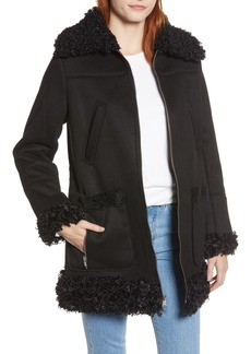 Sam Edelman Zip Coat with Faux Shearling Trim