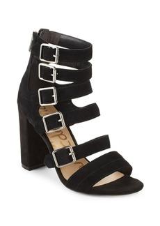 Zip Leather Open Toe Sandals