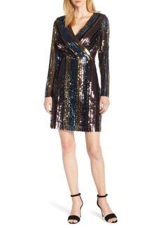 Sam Edelman Sam Edleman Rainbow Stripe Sequin Wrap Front Dress