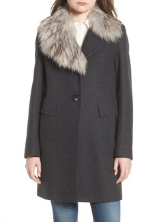 Sam Edelman Walker Faux Fur Collar Wool Blend Coat