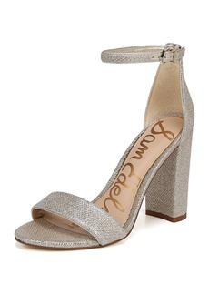 Sam Edelman Yaro Chunky-Heel Glam Mesh Ankle-Wrap Sandal