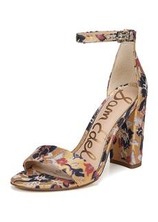 Sam Edelman Yaro Chunky-Heel Jacquard Ankle-Wrap Sandal
