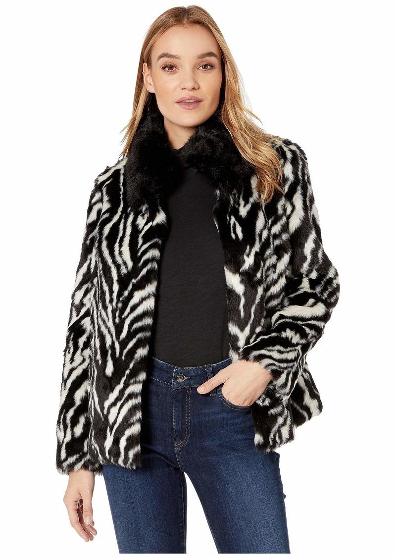 Sam Edelman Zebra Stripe Faux Fur Jacket