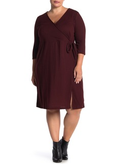 Sanctuary 3/4 Sleeve Knit Faux Wrap Dress (Plus Size)