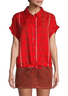 Sanctuary Borrego Check Drawstring Shirt