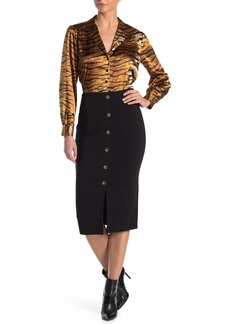 Sanctuary Button Accent Ponte Pencil Midi Skirt