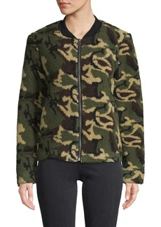 Sanctuary Camo Faux Shearling Bomber Jacket