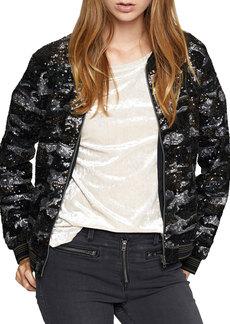 Camo Sequins Bomber Jacket