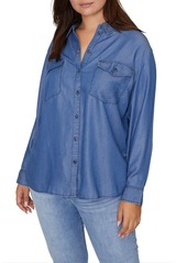 Sanctuary Collared Long Sleeve Chambray Shirt (Plus Size)