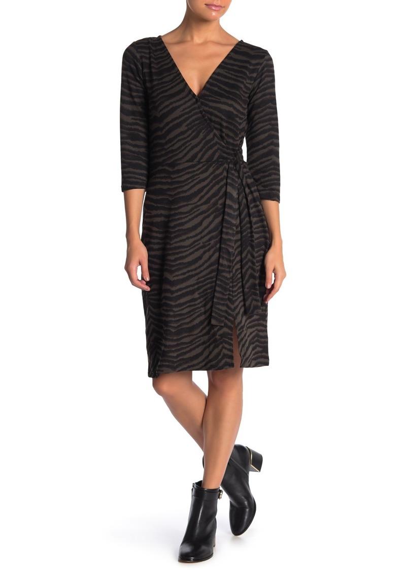 Sanctuary Cozy Zebra Mock Wrap Dress (Regular & Petite)