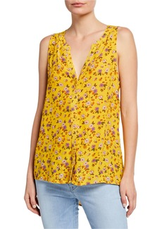 Sanctuary Craft Floral Button-Front Shell with Back Slit