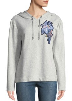 Sanctuary Crane-Embroidered Crop Hoodie
