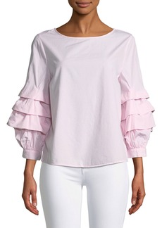 Sanctuary Delphine Striped Ruffle-Sleeve Poplin Blouse