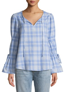 Sanctuary Flora Plaid Ruffle-Sleeve Blouse