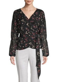 Sanctuary Floral-Print Bishop-Sleeve Wrap Top