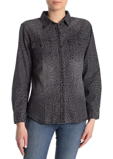 Sanctuary Front Button Animal Print Shirt