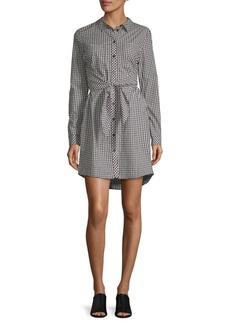 Gingham Tie-Front Shirt Dress