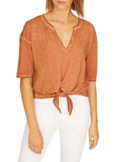 Sanctuary Helene Split Neck Tie Front Cotton Blend Top