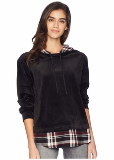 Sanctuary Highland Woven Mix Hoodie Top