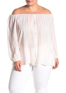 Sanctuary Iris Striped 3/4 Sleeve Linen Blend Top (Plus Size)