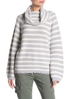 Sanctuary Jagger Striped Distressed Cowl Neck Sweater