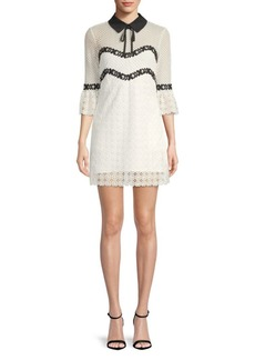 Lace Bell-Sleeve Collared Dress