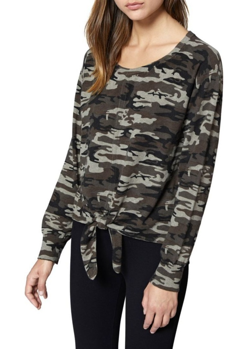 Sanctuary Laguna Tie-Front Camouflage Sweater