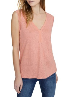 Sanctuary Laura Contrast Neck Linen Top (Regular, Petite & Plus Size)