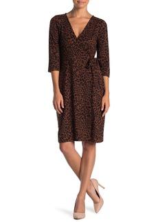 Sanctuary Leopard Print Surplice Neck Dress (Petite)