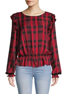 Sanctuary Millie Ruffle Plaid Blouse