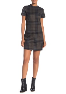 Sanctuary Mock Neck Plaid Ponte Dress