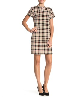 Sanctuary Mock Neck Plaid Print Shift Ponte Dress