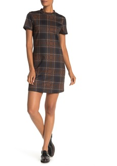 Sanctuary Mock Neck Plaid Shift Dress