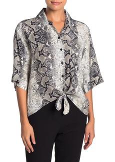 Sanctuary Modern Life Snake Print Tie Hem Shirt (Petite)
