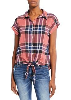 Sanctuary Plaid Short-Sleeve Button-Front Tie-Hem Shirt