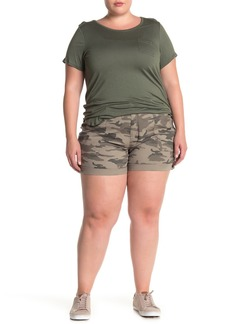 Sanctuary Roll Tab Button Front Poplin Shorts (Plus Size)