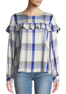 Sanctuary Ruffle-Yoke Plaid Blouse