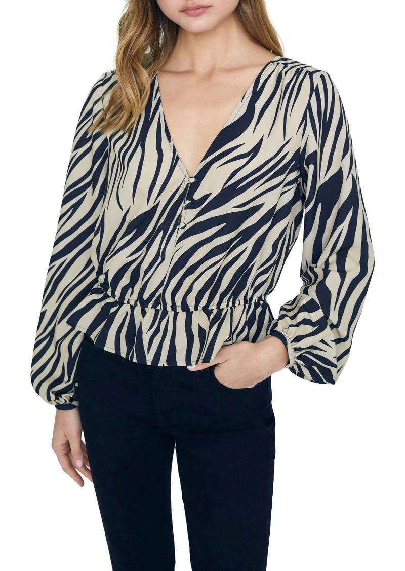 Sanctuary All Nighter Zebra Print Peplum Long Sleeve Blouse (Regular & Petite)