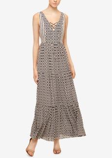 Sanctuary Audrey Printed Lace-Up Maxi Dress