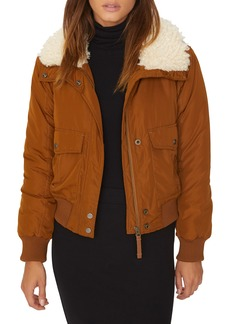 Sanctuary Aviator Faux Fur Collar Flight Jacket