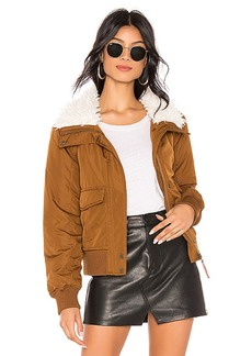 Sanctuary Aviator Flight Jacket With Faux Fur Collar
